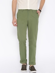 U.S. Polo Assn. Olive Green Tapered Slim Fit Casual Trousers