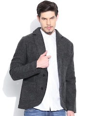 United Colors of Benetton Charcoal Grey Woollen Single-Breasted Casual Blazer