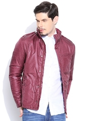 United Colors of Benetton Wine-Coloured Padded Printed Jacket