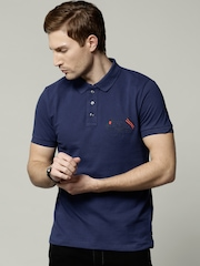 French Connection Men Blue Polo T-shirt