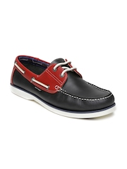 Hush Puppies Men Charcoal Grey Leather Boat Shoes