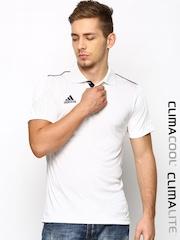 Adidas Men White Basic Cricket Basic Polo T-shirt