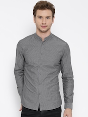Jack & Jones Men Grey Striped Casual Shirt