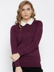 United Colors of Benetton Burgundy Winter Top with Detachable Collar