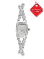 DKNY Women Silver-Toned Stone-Studded Dial Watch NY8681