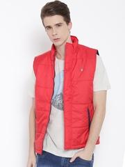 Peter England Red Sleeveless Jacket