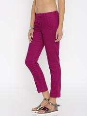 Calvin Klein Jeans Women Magenta Corduroy Trousers