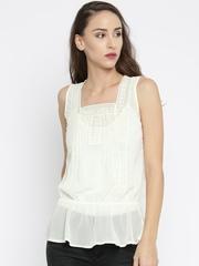 Elle Women Off-White Lace Regular Top