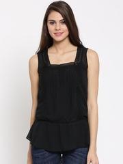 Elle Women Black Lace Sheer Top
