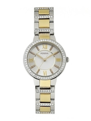 Fossil Women Silver-Toned & White Dial Watch ES3503I