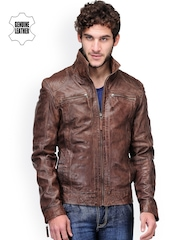 Teakwood Leathers Men Coffee Brown Leather Jacket