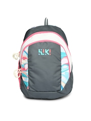 Wiki by Wildcraft Unisex Grey & Pink Printed Backpack
