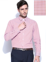 John Players Men Red & Off-White Checked Slim Fit Formal Shirt