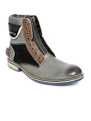 ID Men Grey Leather Boots