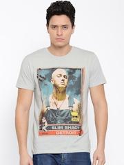 Eminem by Free Authority Men Light Grey Printed T-shirt