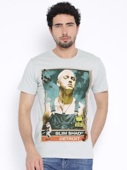 Eminem by Free Authority Men Light Grey Printed T-shirt
