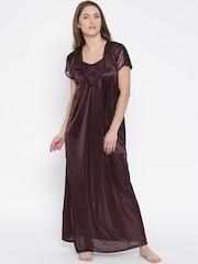 Klamotten Burgundy Satin Maxi Nightdress XX90