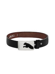 PUMA Men Black Leather Highlight Fitted Belt