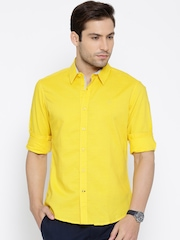 United Colors of Benetton Yellow Linen Casual Shirt