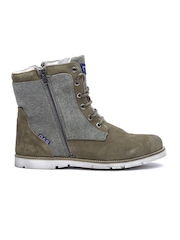 GAS Men Olive Green Suede Boots