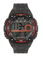Sonata Men Black Digital Watch NF7990PP03J
