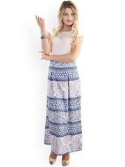 Belle Fille White & Blue Printed Maxi Dress