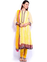 BIBA Yellow Printed Anarkali Churidar Kurta with Dupatta