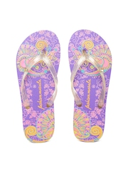 Fashion Masala Women Purple Printed Flip-Flops