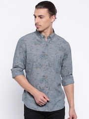 United Colors of Benetton Blue Floral Print Casual Shirt