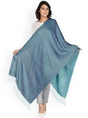 Anekaant Women Blue & Turquoise Blue Reversible Shawl