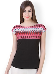Cherymoya Women Black Printed Top