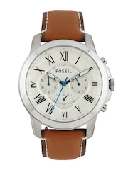 Fossil Men Silver-Toned Dial Chronograph Watch FS5060I