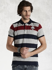 Roadster Grey Melange & Navy Striped Polo T-shirt
