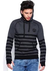 Roadster Grey Melange & Navy Striped Hooded Sweatshirt