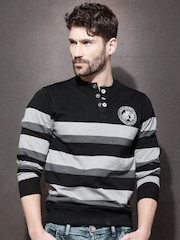 Roadster Black & Grey Melange Striped Henley Sweatshirt
