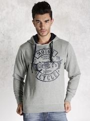Roadster Grey Melange Printed Hooded Sweatshirt