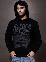 Roadster Black Printed Hooded Sweatshirt