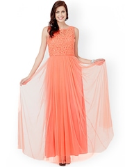 Eavan Peach-Coloured Lace Maxi Dress