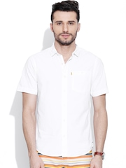 CAT White Slim Fit Casual Shirt