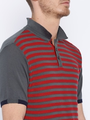 HARVARD Red & Grey Striped Supersoft Polo T-shirt