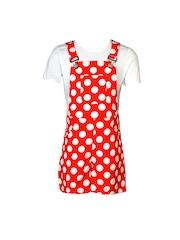 naughty ninos Girls Red & White Polka Dot Print Dungaress with T-shirt