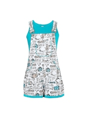 naughty ninos Girls White & Blue Printed Dungarees with T-shirt