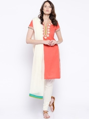 BIBA Coral Pink & White Embroidered Churidar Kurta with Dupatta