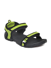 FILA Men Black & Fluorescent Green Liberty Sports Sandals