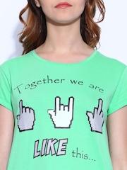 Kook N Keech  Mint Green Printed T-shirt
