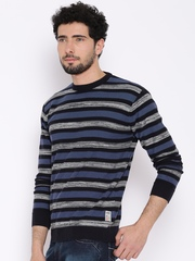 HRX by Hrithik Roshan Navy & Grey Striped Sweater