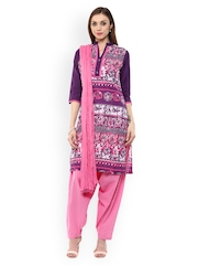 Jaipur Kurti Purple & Pink Patiala Kurta Set with Dupatta