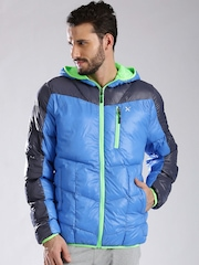 HRX by Hrithik Roshan Blue Go Getter Light Weight Quilted Active Hooded Jacket
