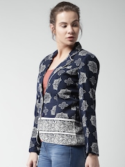 Mast and Harbour Navy Printed Blazer