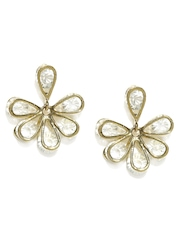 Mast & Harbour Gold-Toned & White Floral Drop Earrings